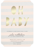 Invitationskort, Stripes rosa, Baby Shower