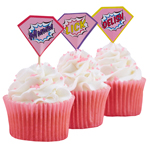 Cupcake sticks - Pink Pop Art - 20-pak