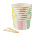 Striped ice cream cups / treat cups med skeer, 8-pak