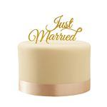 Kagedekoration - Just Married - Gold