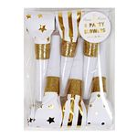 Party Horns - Tutor - Guld & Glitter - 6-pak