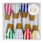 Party Horns - Tutor - Striber & Glitter - 6-pak