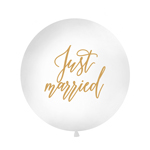 Oversize ballon, Just married, hvid 90-100cm