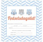 Invitationskort, 10-pak, fortrykte kort fest, <br />Little Owl