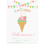 Invitationskort, 10-pak, fortrykte kort fest, <br />Sweet Ice Cream