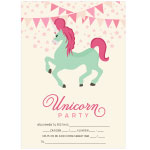 Invitationskort, 10-pak, fortrykte kort fest, <br />Little Unicorn