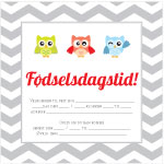 Invitationskort, 10-pak, fortrykte kort fest, <br />Owl Friends