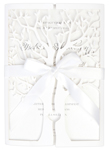 Invitationskort,Tree of love, hvid